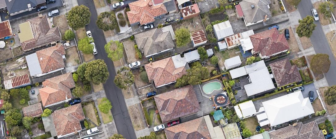 Aerial view of suburban Melbourne